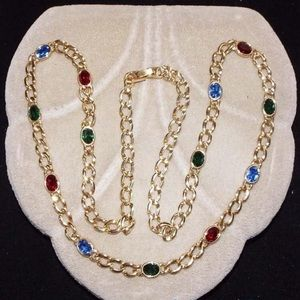 Chain with multi color stone